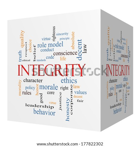 Integrity 3D cube Word Cloud Concept with great terms such as virtue, code, conduct and more. - stock photo