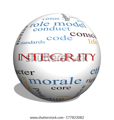 Integrity 3D sphere Word Cloud Concept with great terms such as virtue, code, conduct and more. - stock photo