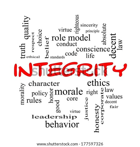 Integrity Word Cloud Concept in red caps with great terms such as virtue, code, conduct and more.