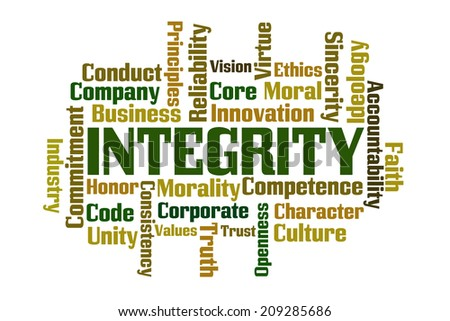 Integrity word cloud on white background - stock photo