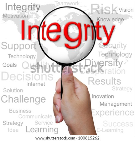 Integrity, word in Magnifying glass ,business background - stock photo