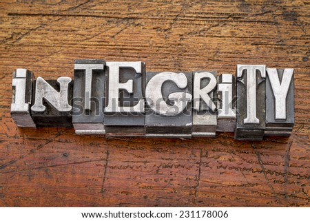 integrity word in vintage metal type printing blocks over grunge wood - stock photo