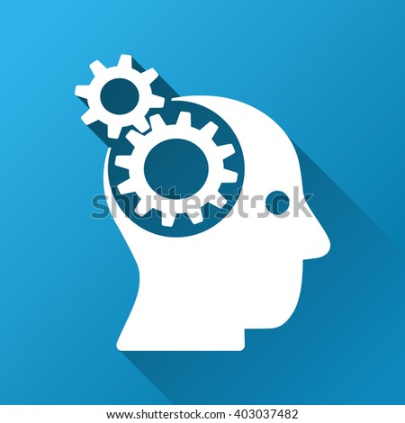 Intellect Gears raster toolbar icon for software design. Style is a white symbol on a square blue background with gradient long shadow. - stock photo