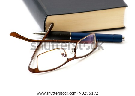 Intellectual attributes on a white backgrounds. - stock photo