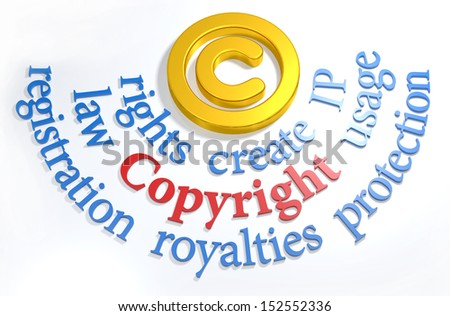 Intellectual property concepts as words around gold Copyright symbol  - stock photo