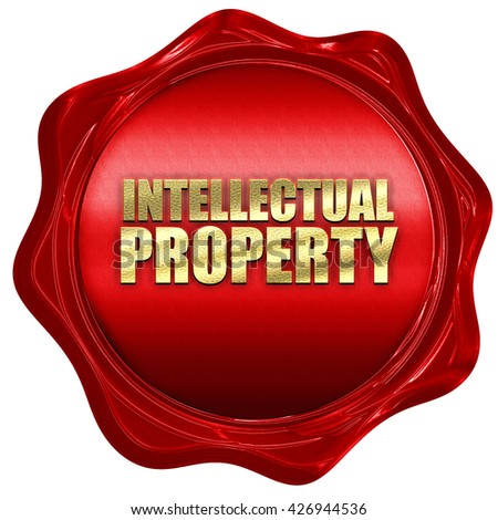 intellectual property, 3D rendering, a red wax seal - stock photo