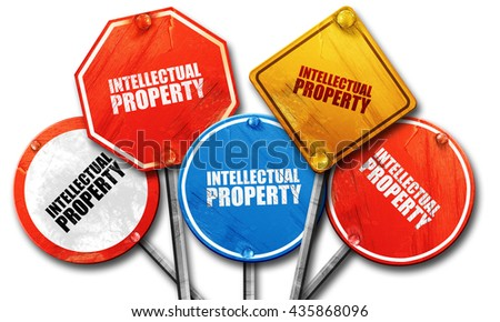 intellectual property, 3D rendering, rough street sign collectio - stock photo