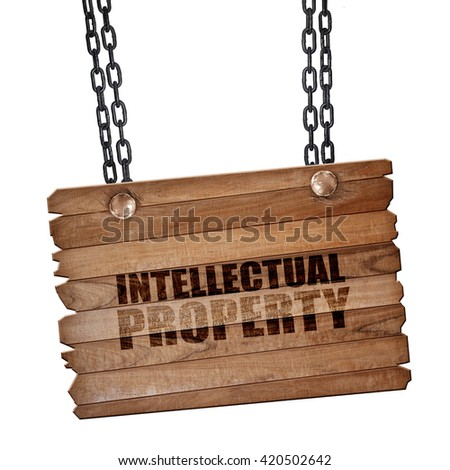 intellectual property, 3D rendering, wooden board on a grunge chain - stock photo