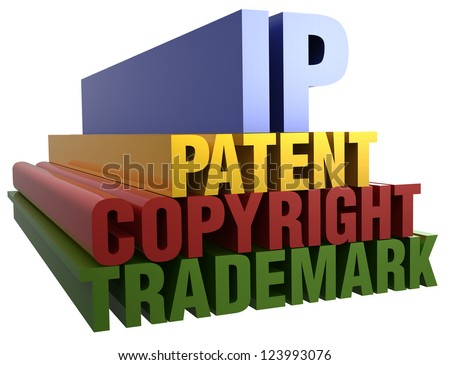 Intellectual Property Patent Copyright Trademark 3D word stack with clipping path - stock photo