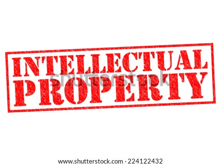 INTELLECTUAL PROPERTY red Rubber Stamp over a white background. - stock photo