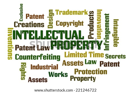 Intellectual Property word cloud with white background - stock photo