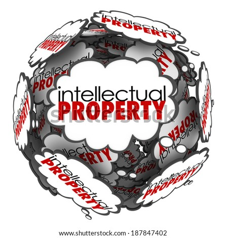 Intellectual Property Words Thought Clouds Creative Ideas Brainstorming - stock photo