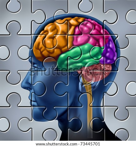 Intelligence and memory symbol represented by a multicolored human brain with a jigsaw puzzle texture.