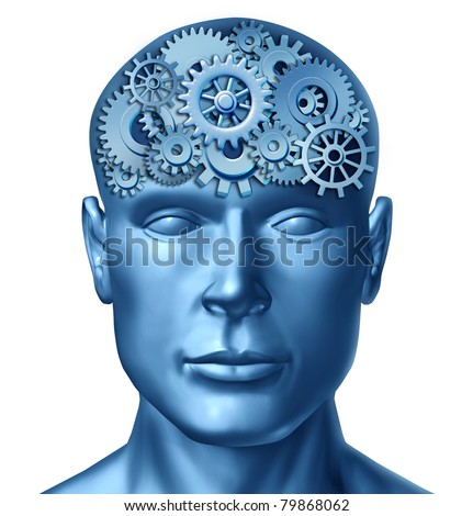 Intelligence brain function represented by a human head with gears and cogs showing brain health activity showing the concept of Alzheimer disease and neurology.