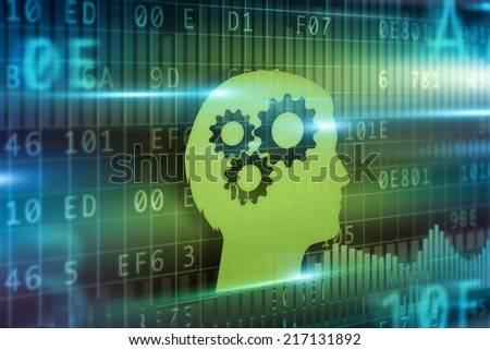 Intelligence concept green head with cogwheel - stock photo