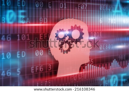 Intelligence concept red head with cogwheels blue background - stock photo