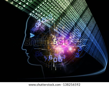 Intelligence series. Abstract design made of human head outlines, lights and fractal elements on the subject of intelligence, knowledge, education, science and technology