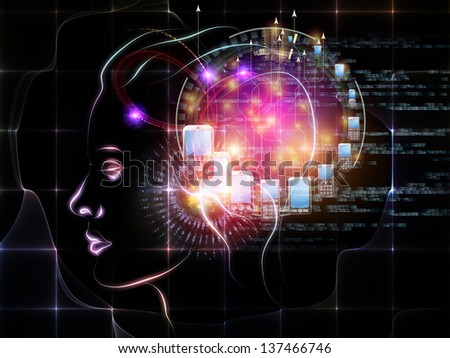 Intelligence series. Artistic abstraction composed of human head outlines, lights and fractal elements on the subject of intelligence, knowledge, education, science and technology - stock photo