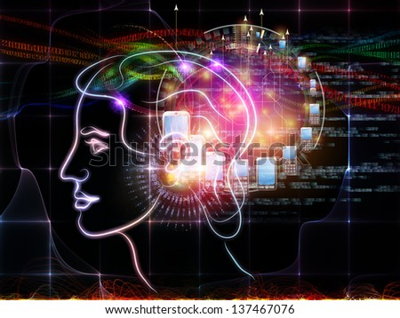 Intelligence series. Backdrop of human head outlines, lights and fractal elements on the subject of intelligence, knowledge, education, science and technology - stock photo