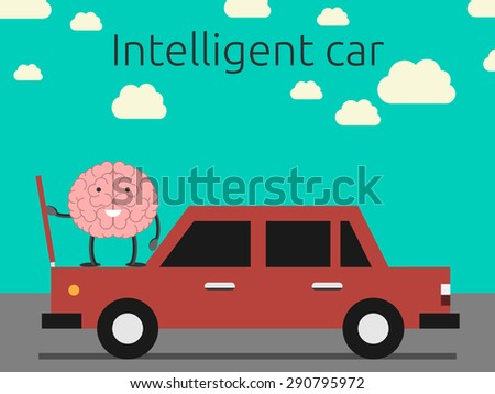Intelligent car concept. Brain character coming out car's hood - stock photo