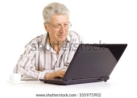 Intelligent elderly man in full vigor feels fine - stock photo