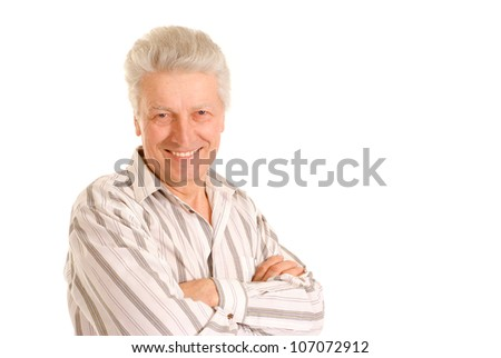 Intelligent elderly man in full vigor feels fine