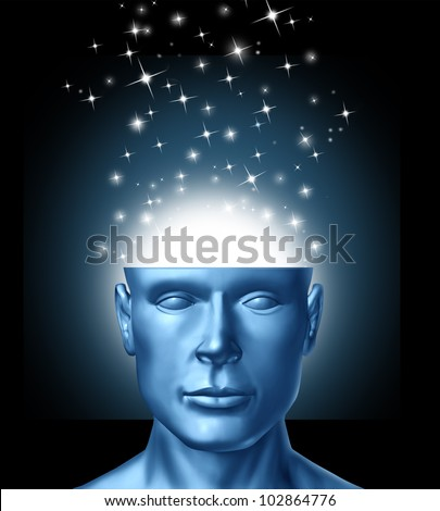 Intelligent thinking and power of ideas and innovation from human imagination with an open head and magical sparkles coming out of the brain as an icon of creative success  and clear vision.