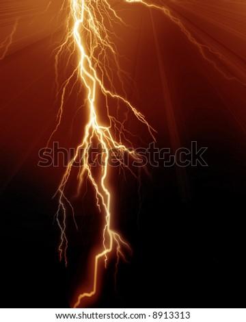 Intense lightning - stock photo