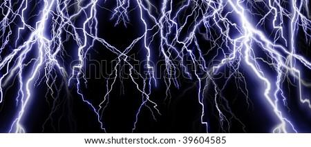 Intense lightning banner on a dark background - stock photo