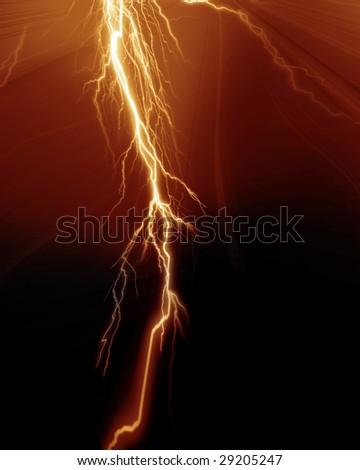Intense lightning flash on a dark background - stock photo