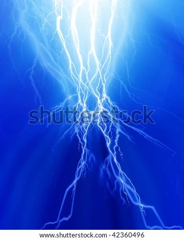 Intense lightning on a soft blue background - stock photo