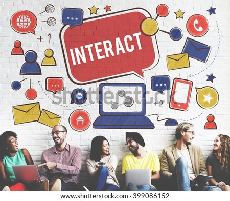 Interact Communicate Connect Social Media Social Networking Concept - stock photo