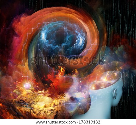 Interaction of human head, clock and fractal elements on the subject of time, mind and virtual reality.
