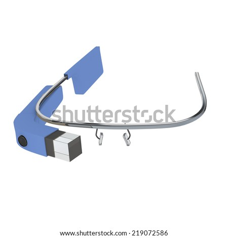 Interactive glass combining real world and computer generated data on a head mounted wearable optical display for augmented reality , isolated on white - stock photo