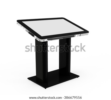 Interactive Information Kiosk Terminal Stand Touch Screen Display, isolated on white background - stock photo