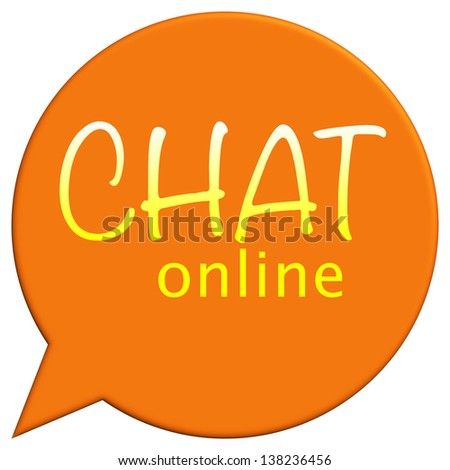 Interactive online chat icon in orange - stock photo