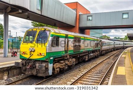Intercity train at Belfast Central railway station - Northern Ireland - stock photo