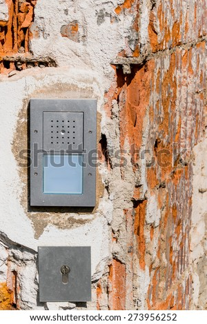 intercom broken , a symbol of security, private property, renovation, insulation - stock photo