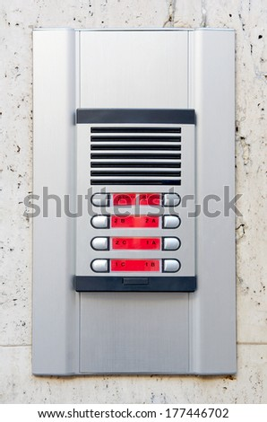 Intercom system at the entrance of a block of flats - stock photo