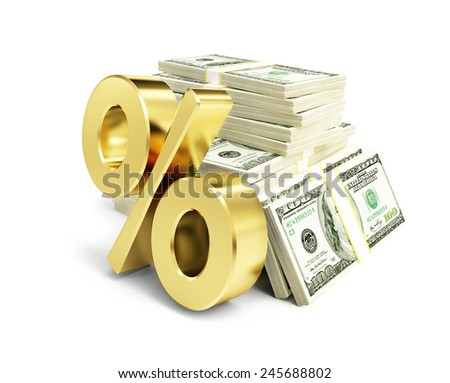 interest, gold dollar sign, many packs of dollars on a white background 3d illustrations