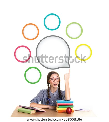interested teen girl with finger up sit from the table and look at camera, on the table lie pile of several colorful books and red apple,  on white background with element's infographic - stock photo