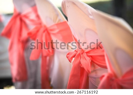 interesting arrangement of seats in a wedding party - stock photo