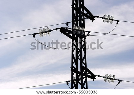 Interesting electricity or communication links with glass - stock photo