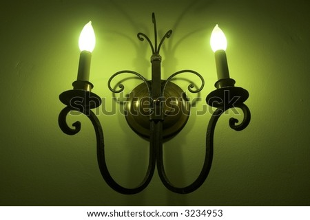 interesting green lighting - stock photo