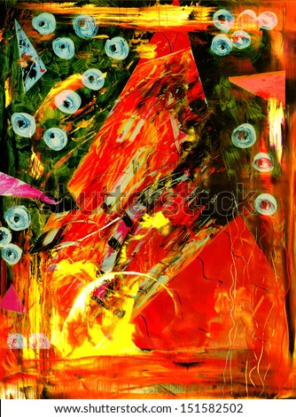 Interesting Image Of an Original Painting Abstract On Glass in verso - stock photo
