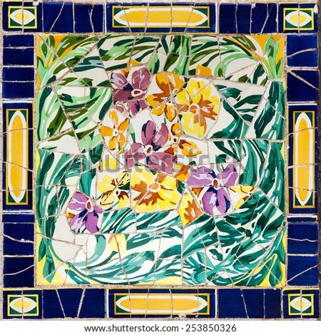 Interesting patterns Mota, Barcelona Park Guell - stock photo
