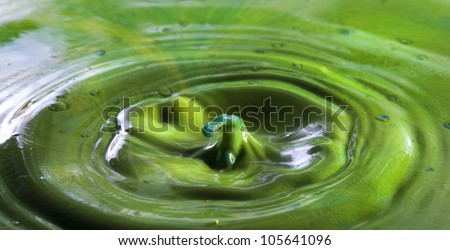 Interesting shape of fluid collisions - stock photo