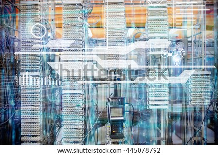 interface against digitally generated black and blue matrix - stock photo