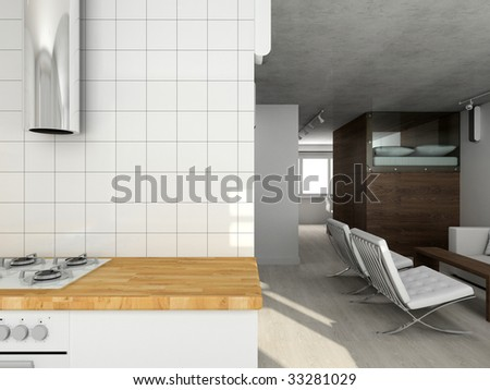 Interioir of modern living-room. 3d render - stock photo