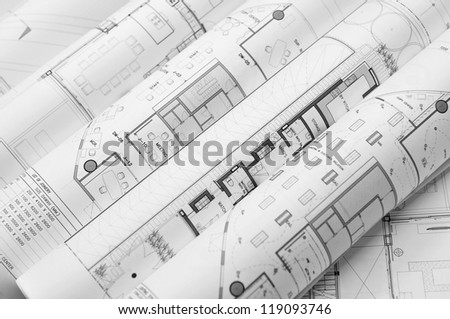 interior and architectural drawing - stock photo